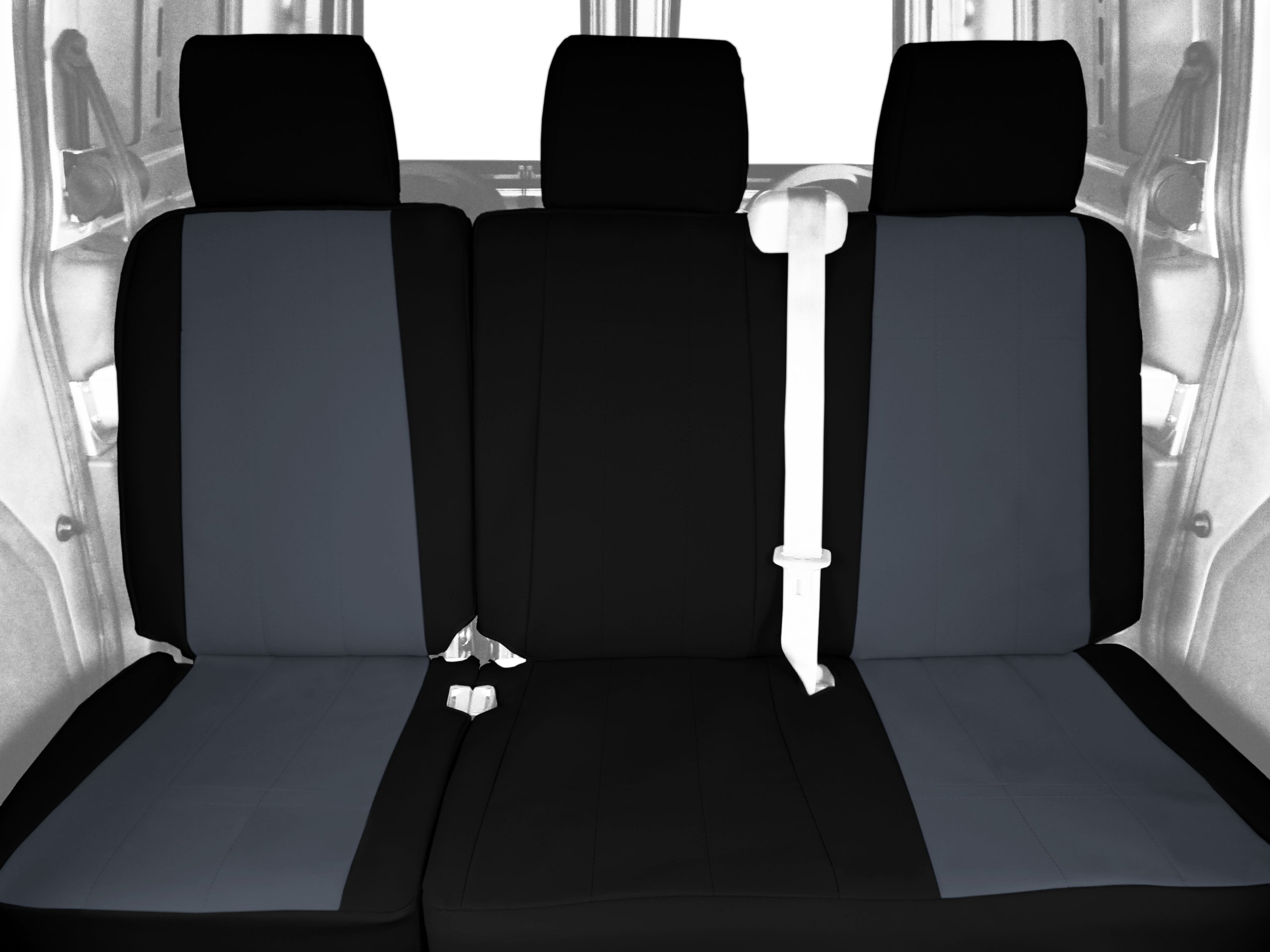 CalTrend Rear Row 60/40 Split Bench Custom Fit Seat Cover for Select Toyota Tundra Models - DuraPlus (Charcoal Insert with Black Trim)