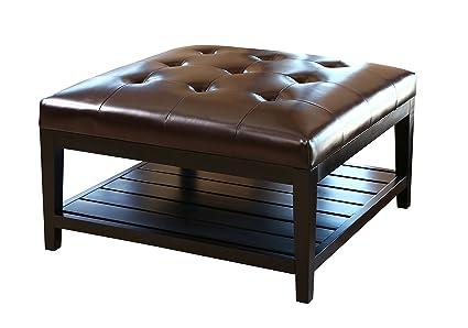 Abbyson® Villagio Tufted Leather Square Coffee Table Ottoman, Dark Brown