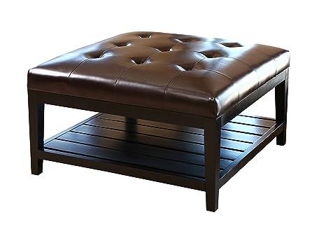 Astonishing Abbyson Villagio Tufted Leather Square Coffee Table Ottoman Dark Brown Bralicious Painted Fabric Chair Ideas Braliciousco