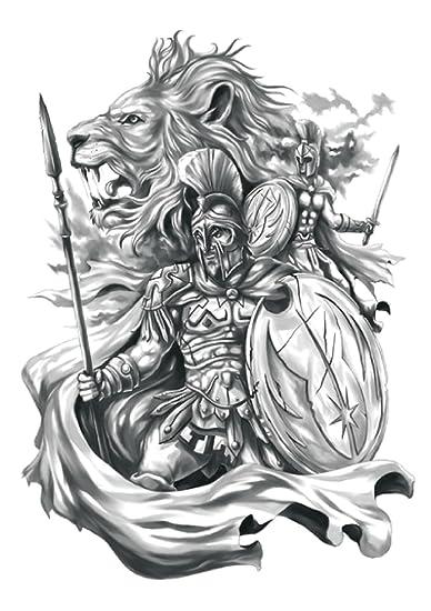 Amazon Com Worrior Lion King Large 8 25 Half Sleeve Arm Tattoo