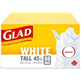 Glad White Garbage Bags - Tall 45 Litres - Unscented, 60 Trash Bags