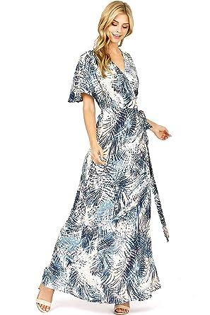88ec1a04cf6 LOVE STITCH Women s Palm Leaf Print Wrap Long Maxi Dress (M