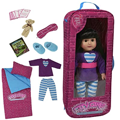 18 Inch doll Travel Case - Includes Doll sleepover set with 9 doll accessories: Toys & Games