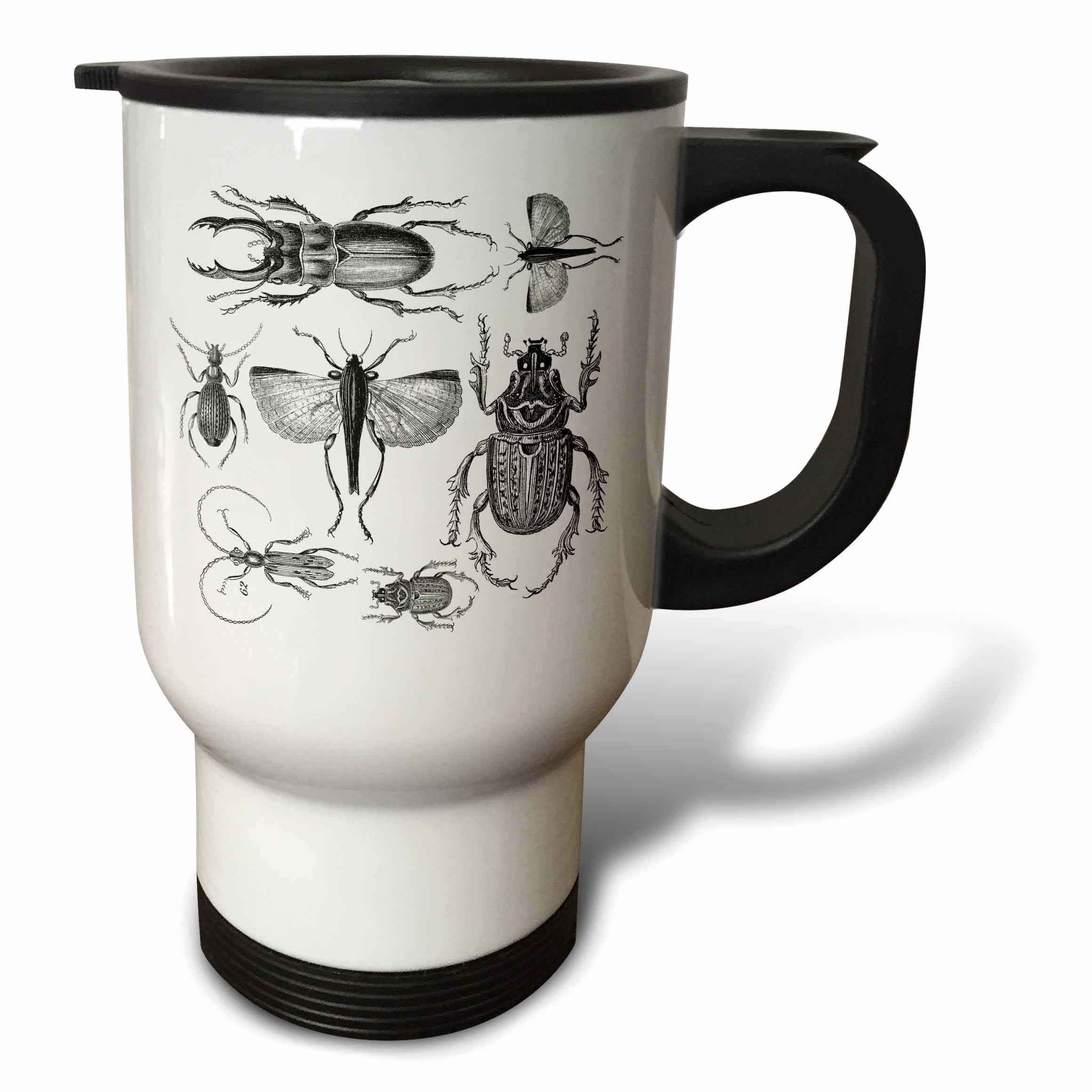 3dRose Andrea Haase Animals Illustration - Vintage drawing of bugs and beetles in black and white - 14oz Stainless Steel Travel Mug (tm_264735_1)