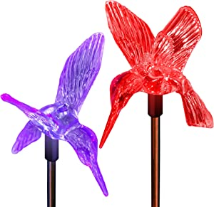 SolarDuke Solar Hummingbirds Holiday Decoration Pathway Lighting Garden Stake Lights Color Changing Outdoor Decor Patio Lawn Yard Path Decorative Ornaments (2 Pack)