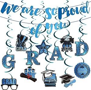 ADXCO Party Decoration Swirls Graduation Party Hanging Decor 2021 Graduation Party Supplies for Grad Hanging Swirl School Classroom Decor (Blue)