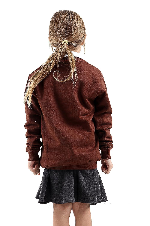GW CLASSYOUTFIT Girls Boys Kids Unisex Jumper Sweatshirt Button Fleece Cardigans Shirts Crew Long Sleeve TOP Sweat Shirt School Uniform Pull Over Jumper Round//V Neck School Uniform Ages 5-13