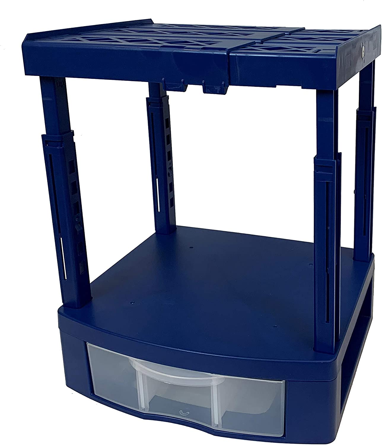 Tools for School Locker Drawer and Height Adjustable Shelf. Includes 2 Removable Drawer Dividers. Heavy Duty. Fits 12 Inch Wide Locker (Blue, Single Drawer)