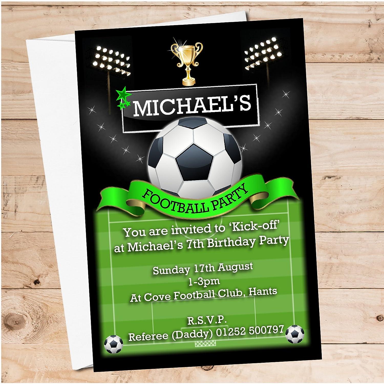 10 Personalised Football Soccer Birthday Party PHOTO Invitations ...