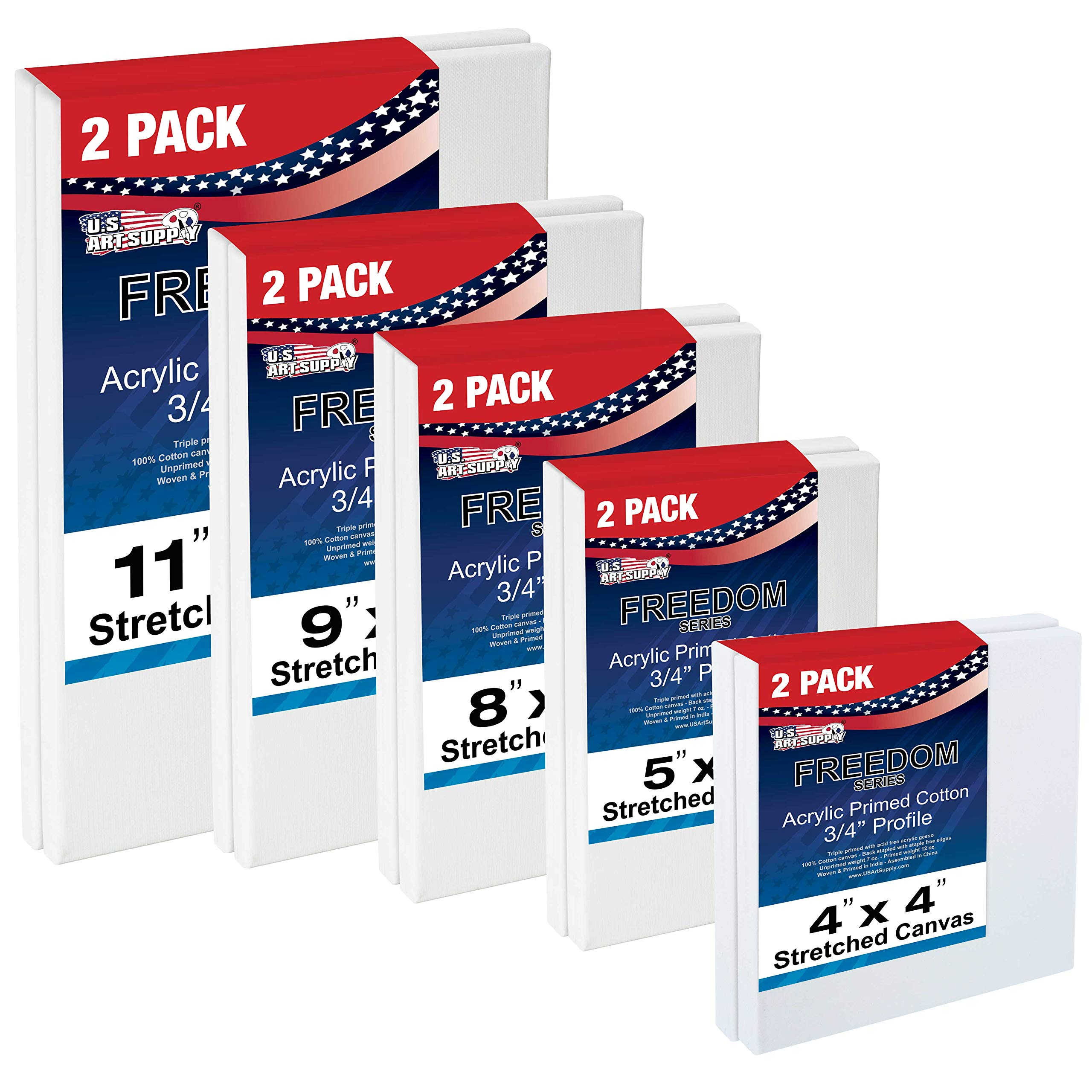 US Art Supply Multi-Pack 2-Ea of 4x4, 5x7, 8x10, 9x12, 11x14. Professional Quality Small 12oz Primed Gesso Artist Stretched Canvas by U.S. Art Supply