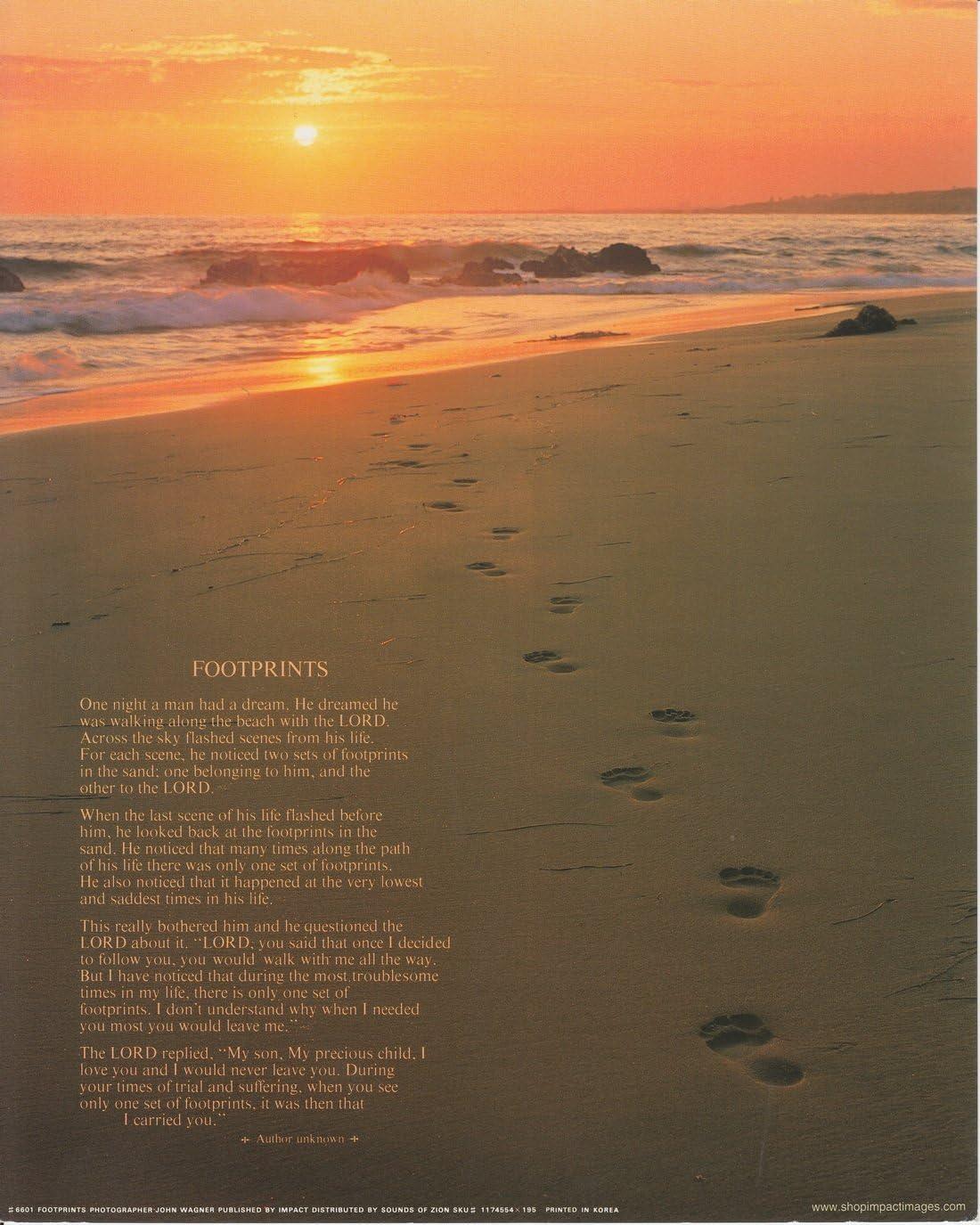 Footprints Poster in the Sand Motivational Wall Decor Art Print (16x20)
