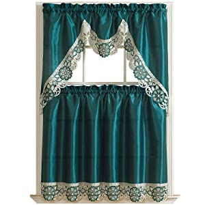 GOHD Golden Ocean Home Decor Dreamland Kitchen Curtain Set/Swag Valance & Tier Set. Nice Matching Color Embroidery on Border with cutworks (Teal)