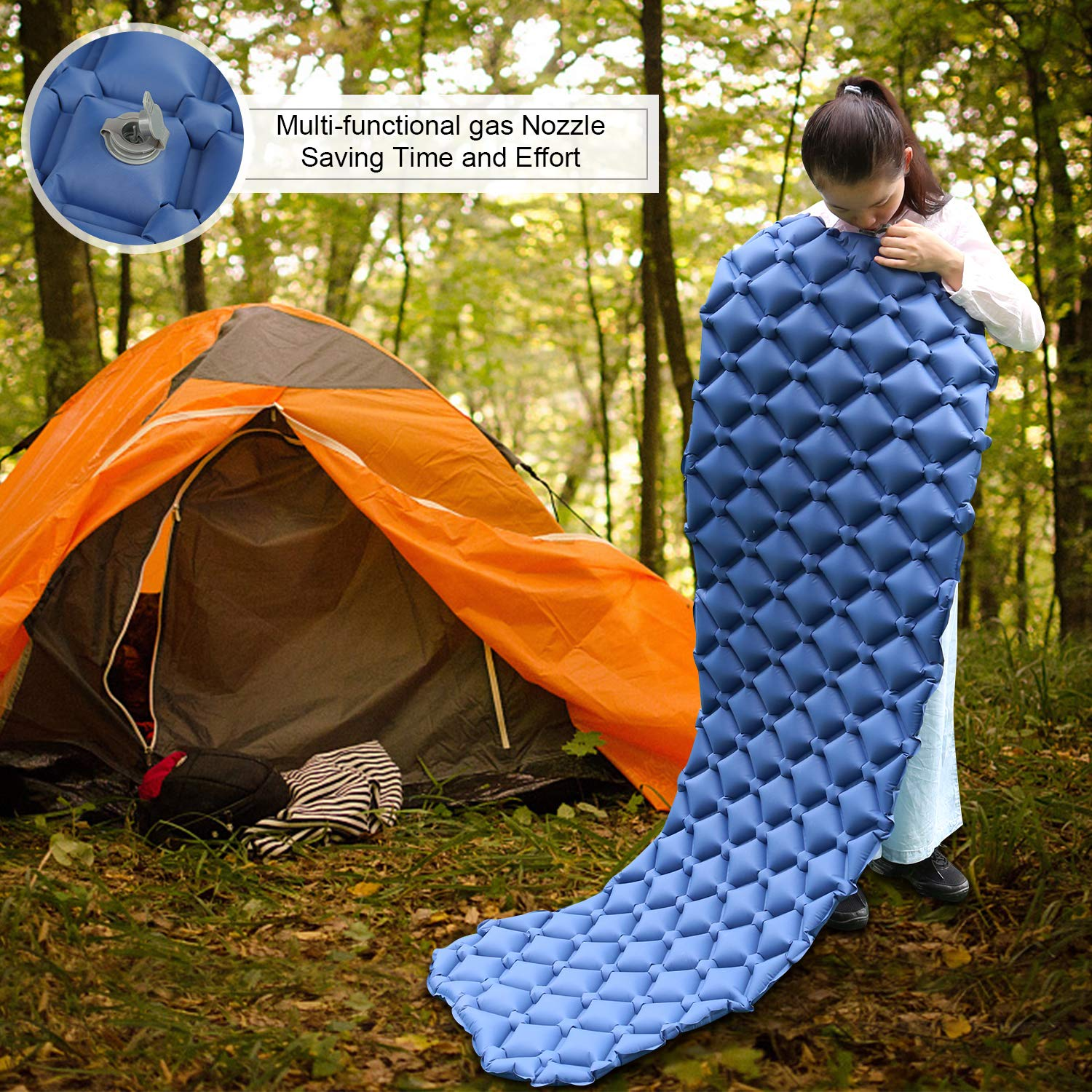 Portable Camping Mat Suit for Hiking Ultralight Compact Inflating Pads ONSON Sleeping Pad Air Cell Design with FoldingCarry Bags Accessories Backpacking and Travel