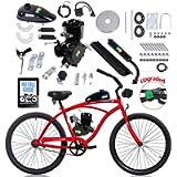 YUEWO 80cc Motorized 2-Stroke Upgrade Bike Conversion Kit, DIY Petrol Gas Engine Bicycle Motor Kit Set with Speedometer…