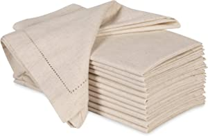 Ramanta Home Cloth Dinner Napkins in Cotton Flax Fabric with Hemstitched & Tailored Mitered Corner Finish Size 20x20 inch Set of 12