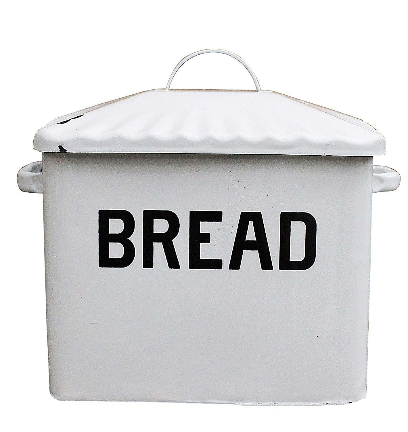 Creative Co-op DA1987 Enameled Metal Distressed White Bread Box with Lid