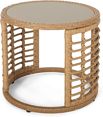 Anne Indoor Modern Boho Wicker Side Table