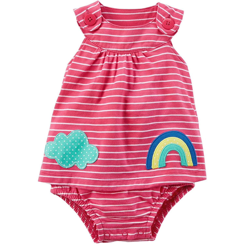 Carter's Baby Girls' Striped Rainbow Cloud Sunsuit
