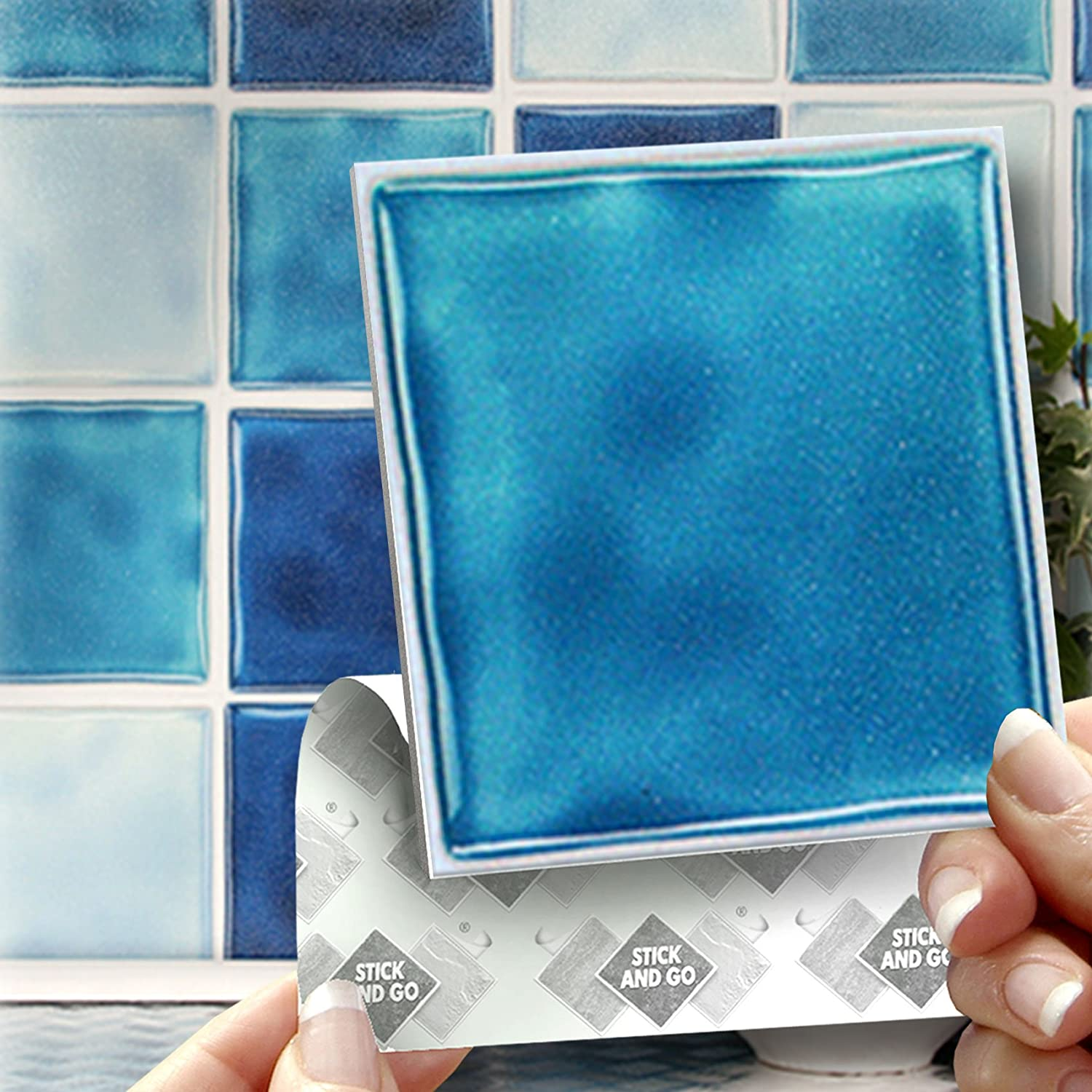 18 BLUE MIX EFFECT WALL TILES - 2mm Thick and solid Self Adhesive ...