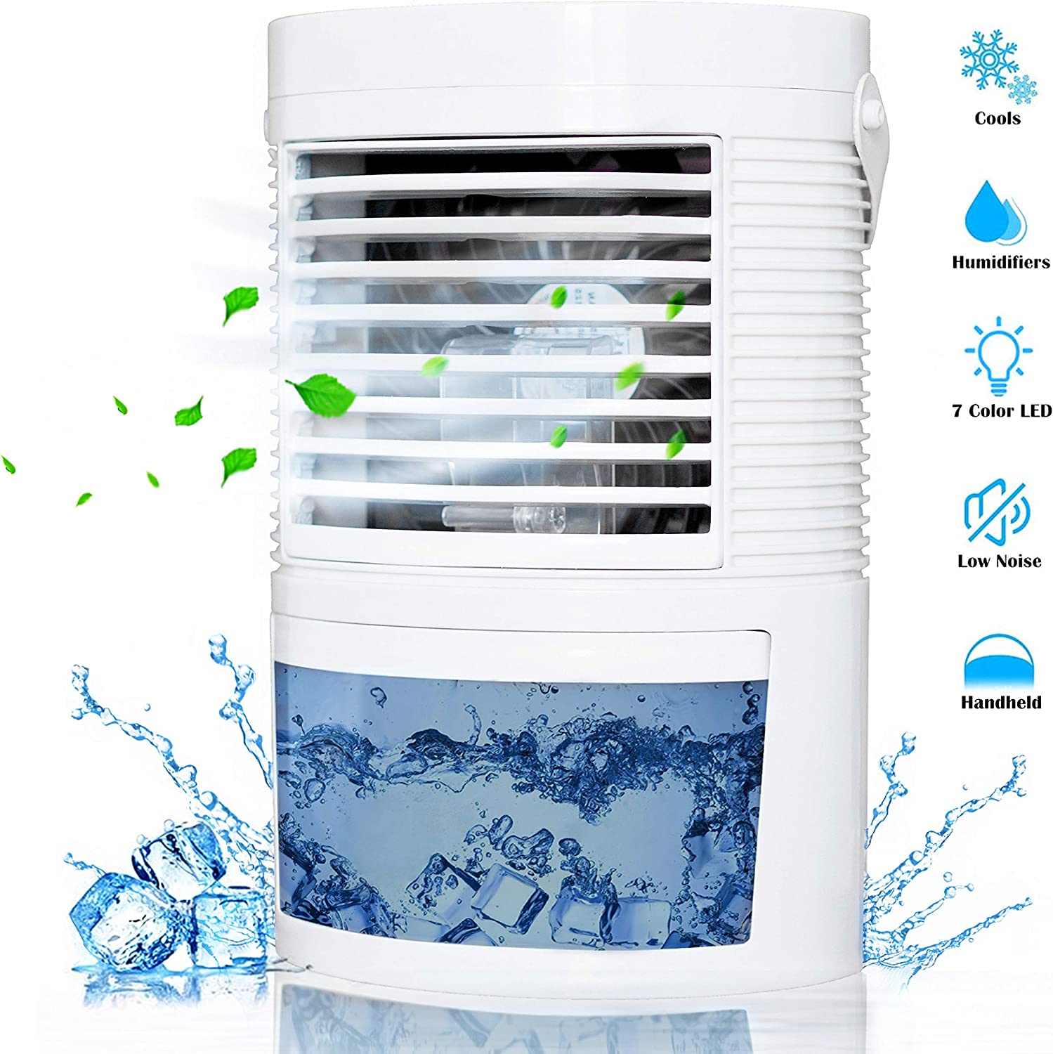 DAYSALE Personal Air Cooler,Portable Air Cooler,Mini Space Cooler, Desktop Air Conditioning Fan with 3 Wind Speeds/7 Night Lights/Handle Cooler Air Humidifier for Home, Office and Room (White)