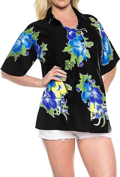 LA LEELA Shirt Camisa Hawaiana Hombre XS - 5XL Manga Corta Delante de Bolsillo Impresión Hawaiana Casual Regular Fit Camisa de Hawaii Azul: Amazon.es: Ropa y accesorios