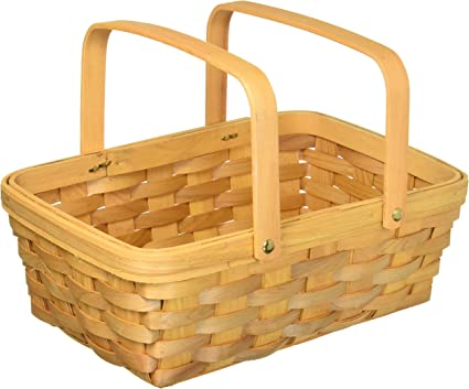 Wood Country Basket with Moveable Handles Darice 12.5 inch