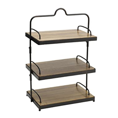 Gourmet Basics by Mikasa 5217144 Sierra Adjustable Metal Buffet Stand with Removable Acacia Serving Trays, Antique Black