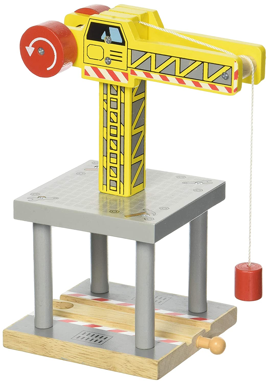 Bigjigs Rail BJT175 großer Kran, kompatibel mit anderen großen Holz-Eisenbahn-Marken, gelb Bigjigs Toys