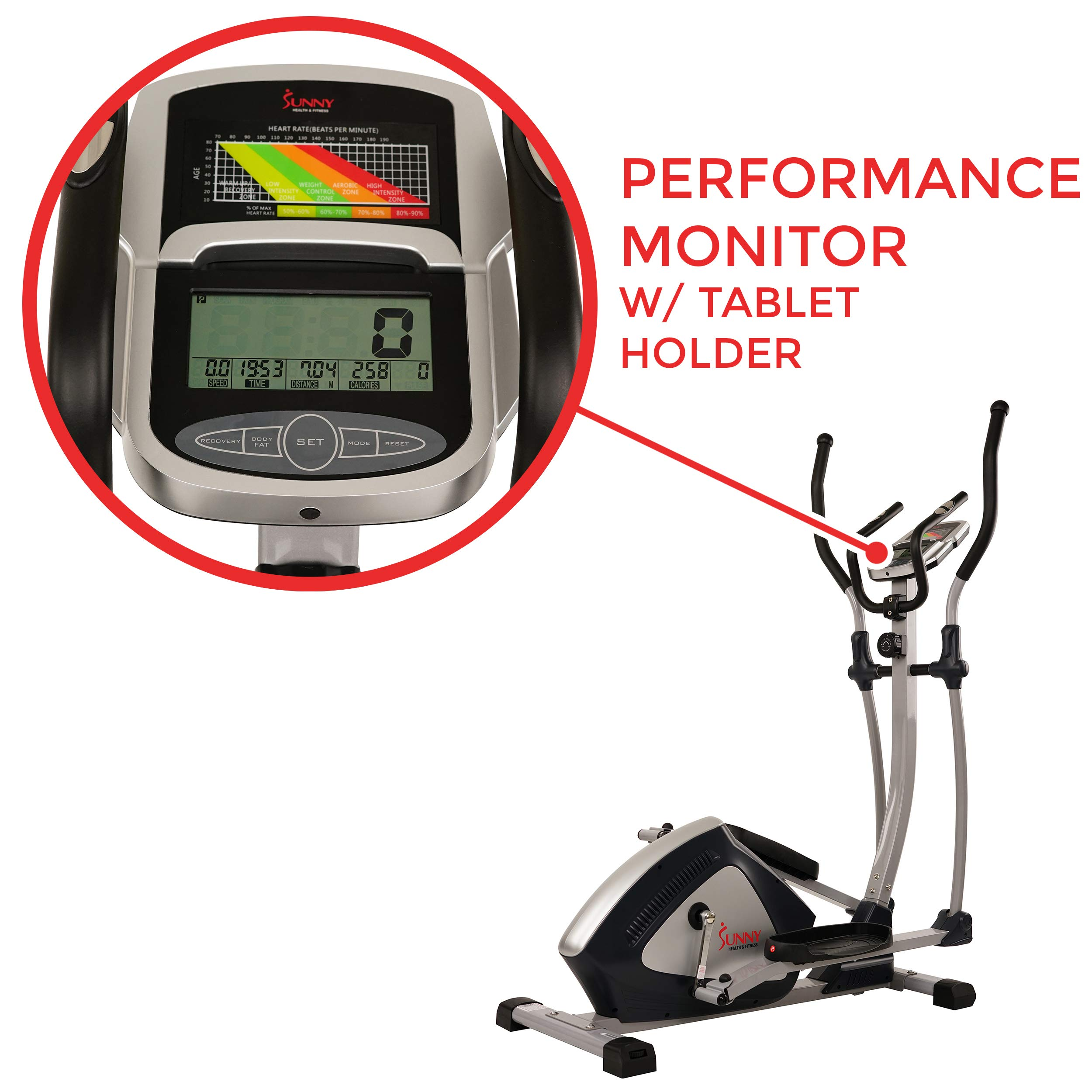 Sunny Health & Fitness Magnetic Elliptical Trainer Elliptical Machine w/  LCD Monitor and Heart Rate Monitoring - Endurance Zone - SF-E3804 by Sunny Health & Fitness (Image #4)