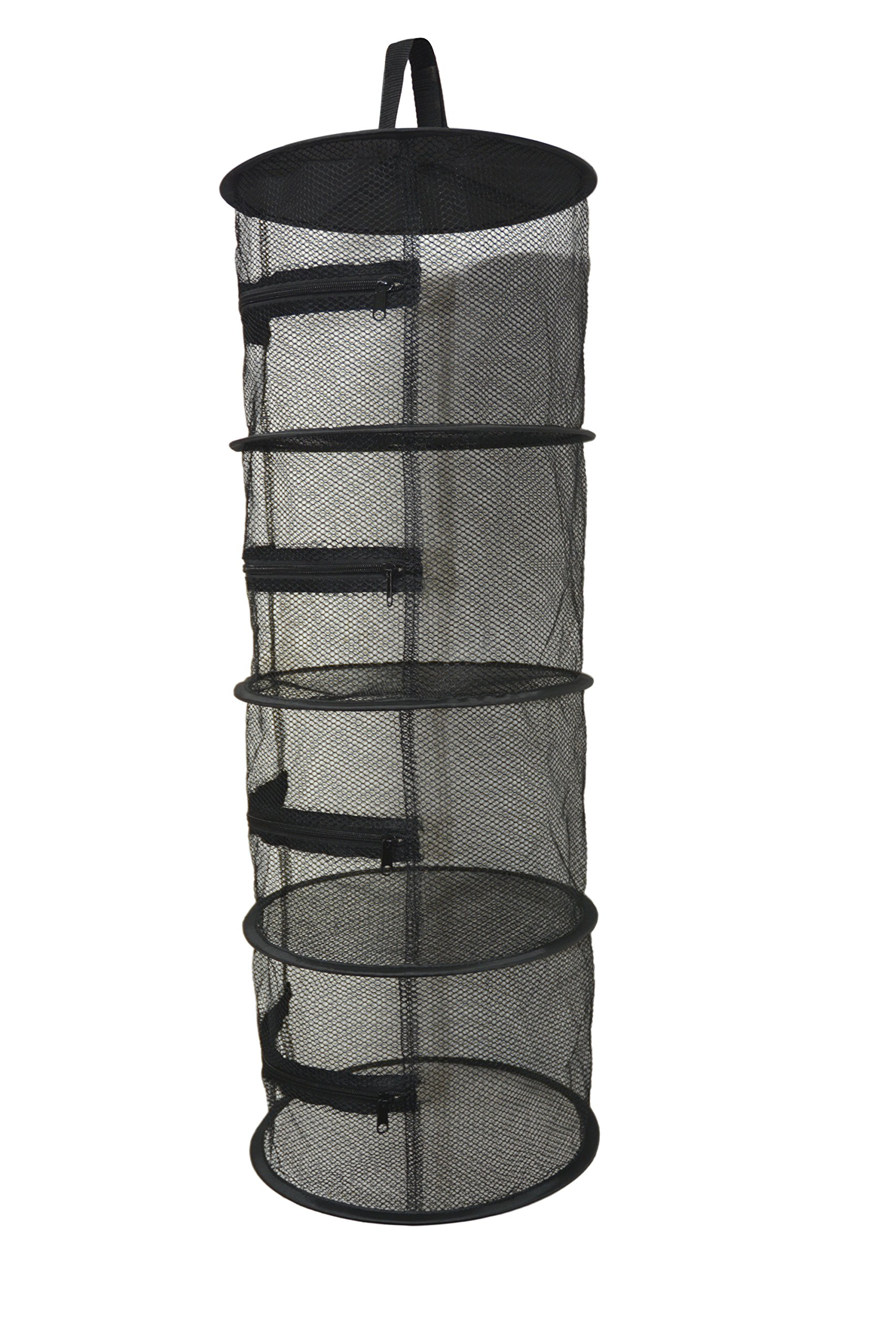 Compact 12 Inch Diameter 4 Layer Mini Hanging Herb Drying Rack - Black Dry Net Mesh Screen with Zippers for Indoor and Outdoor Use - Ideal for Closets and Grow Tents
