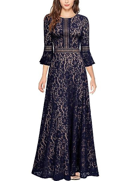 44f51b640 Miusol Vintage Encaje Slim Cóctel Vestido Largo para Mujer: Amazon.es: Ropa  y accesorios