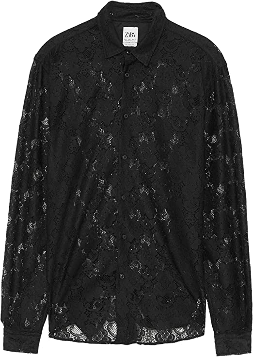 Zara 6175/215 - Camiseta para Hombre con Efecto de Encaje - Negro ...