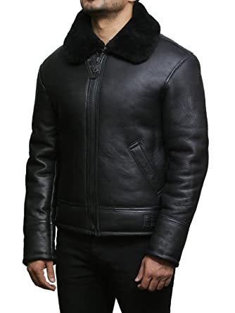 Brandslock Mens Real Shearling Sheepskin Leather Flying Jacket