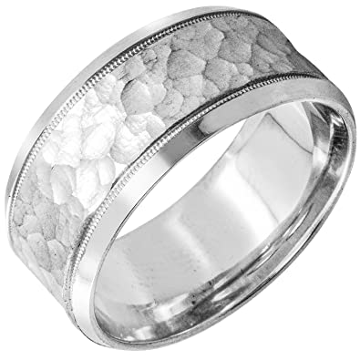 Amazon Com 18k White Gold Carved Lines Men S Hammered Finish