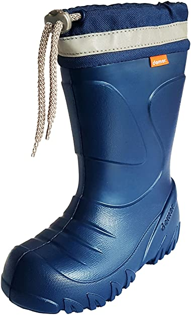 huge discount bd402 3b922 Demar Kids Boys Girls Wellies Rain Boots Warm Fleece-Lined Light Unisex  Children Wellington Boots