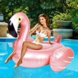 Giant Inflatable Flamingo Ride On Pool Float, Blow Up Pool Floatie with Fast Valves Swimming Floating Raft, Lounge, Summer Pa