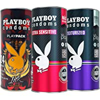 Playboy Condoms 72 Condones 3 Pack Envases con 24 condones c/u: 1 Play Pack Edición Especial Ink con 24 condones + 1…