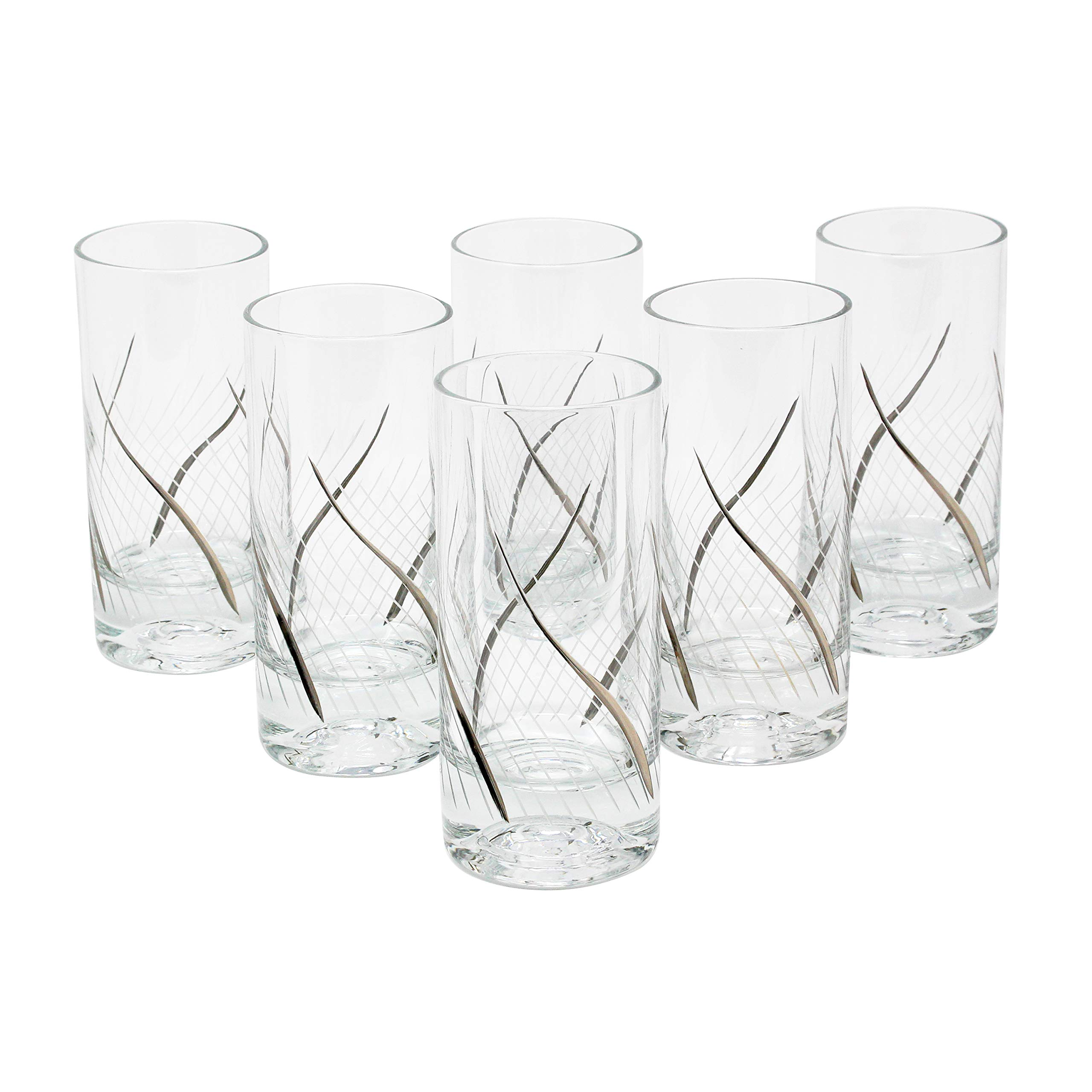 Glazze Crystal RMC-066-PL 24K Platinum Set of 6 Highball glasses, 6''H,