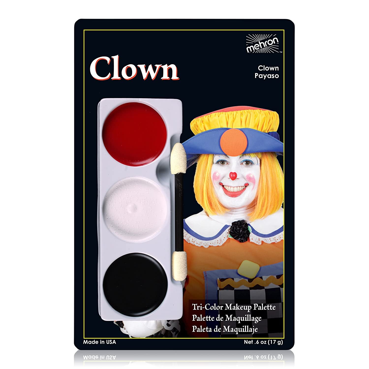 Amazon.com : Mehron Makeup Tri-Color Halloween Makeup Palette (CLOWN) : Beauty