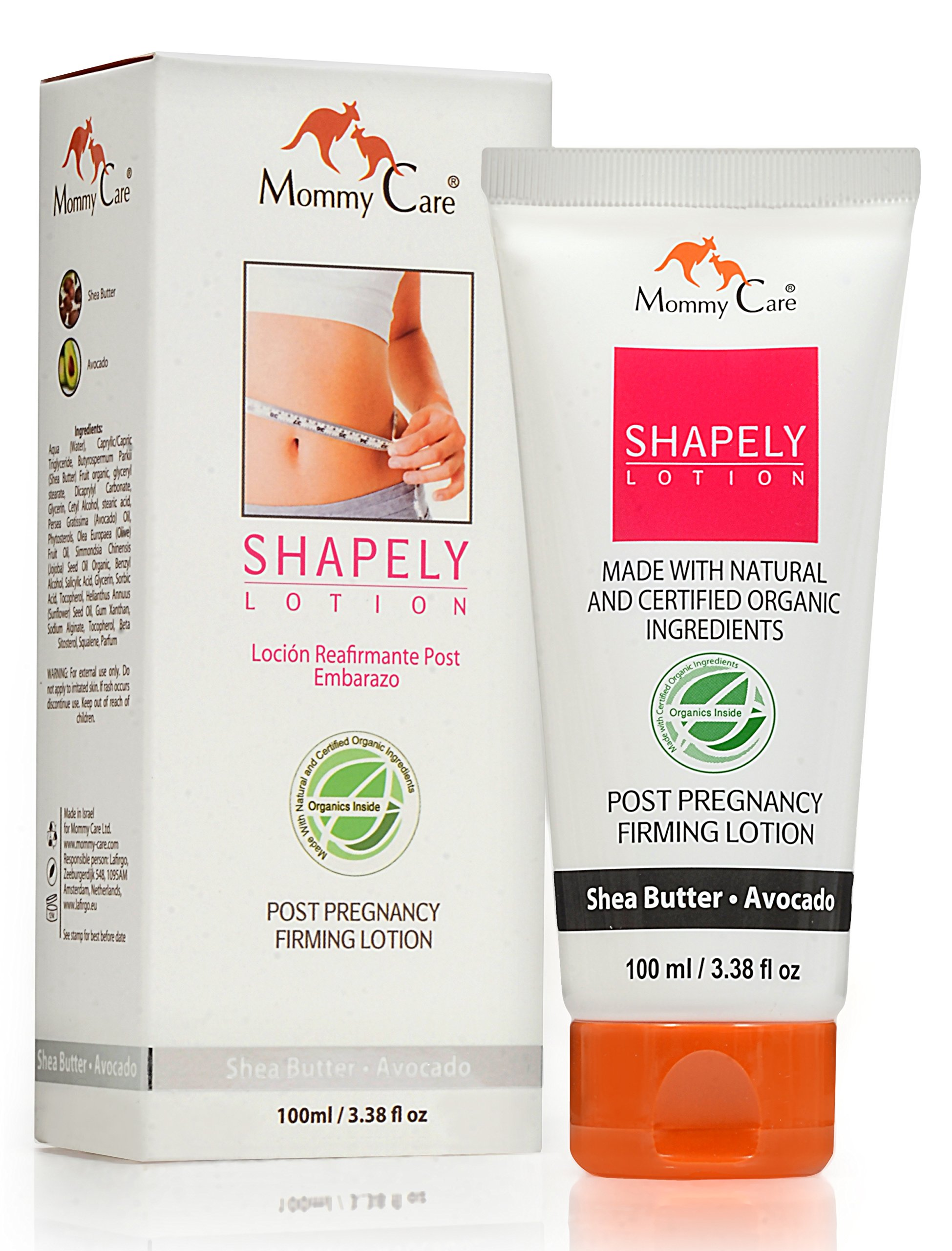 Mommy Care Shapely Post Pregnancy Firming Lotion 100 ml / 3.38 fl oz Postpartum Belly Firming Cream Tummy Tightening for After Pregnancy Certified Organic All Natural Stretch Mark Remover for Mom