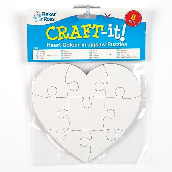 Baker Ross Puzzles mit Herzmotiven für Kinder Zum Ausmalen und ...