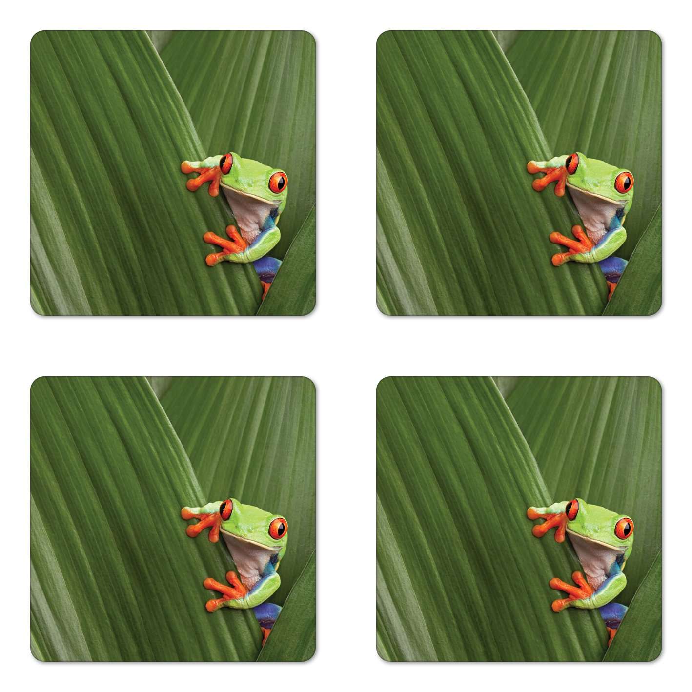 Lunarable Animal Coaster Set of Four, Red Eyed Tree Frog Hiding in Exotic Macro Leaf in Costa Rica Rainforest Tropical Nature, Square Hardboard Gloss Coasters for Drinks, Green