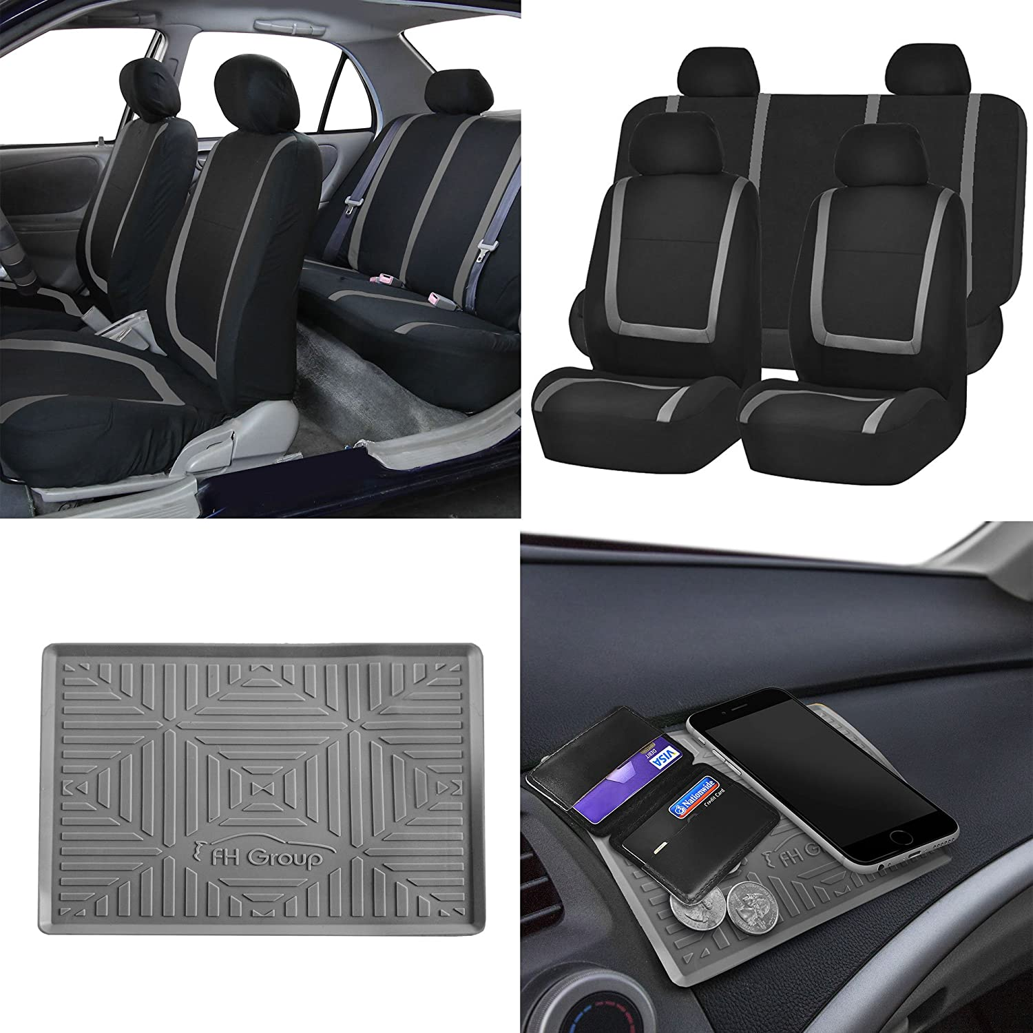 FH Group FB032114 Unique Flat Cloth Full Set Car Seat Covers w. Silicone Anti-Slip Dash Mat, Gray/Black Color- Fit Most Car, Truck, SUV, or Van