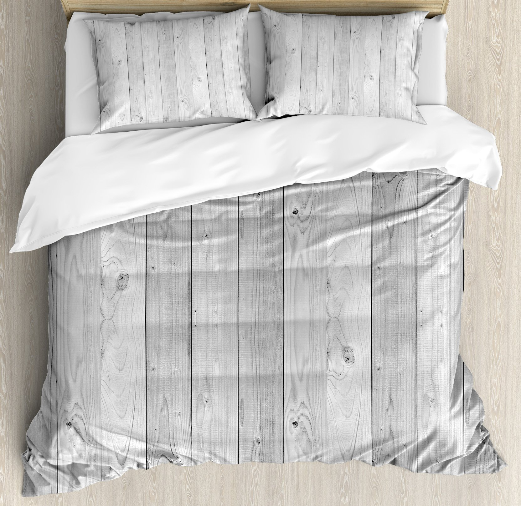 Grey King Size Duvet Cover Set by Ambesonne, Picture of Smooth Oak Wood Texture in Old Fashion Retro Style Horizontal Nature Design Print, Decorative 3 Piece Bedding Set with 2 Pillow Shams, Gray
