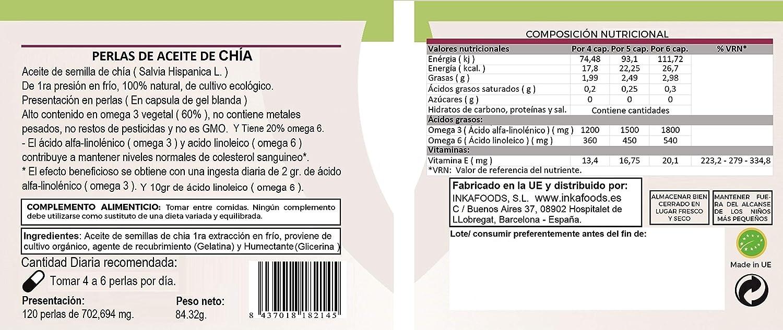 Perlas de aceite de CHÍA, 60% omega 3 vegetal, 120 perlas ...