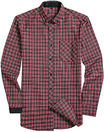 Comaba Men Plaid Long-Sleeve Casual Slim Fit Button Down Western Shirt