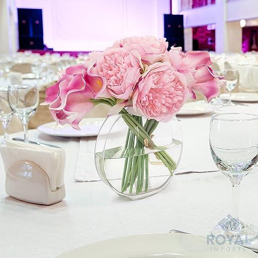 Royal Imports Jarrón de vidrio de flores con eje central decorativo para boda o hogar 7.5 Pulgadas Claro: Amazon.es: Hogar