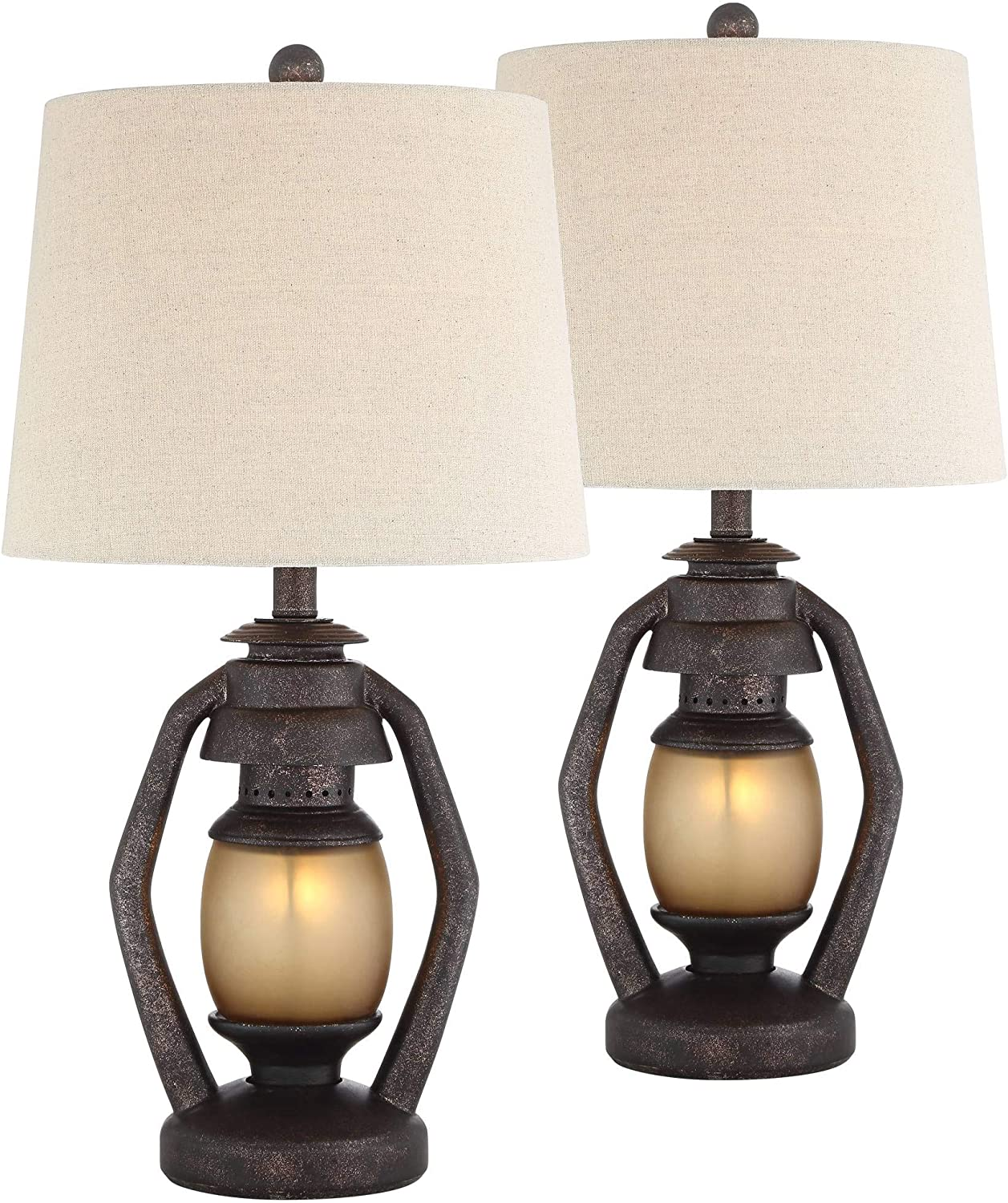 Horace Rustic Farmhouse Table Lamps Set of 2 with Nightlight Miner Lantern Brown Oatmeal Tapered Drum Shade for Living Room Bedroom Bedside Nightstand Office Family - Franklin Iron Works