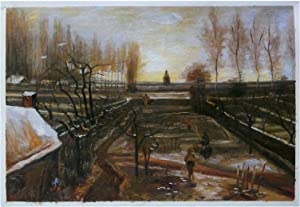 Vincent Van Gogh The Parsonage Garden at Nuenen in the Snow hand-painted oil painting reproduction,church in winter with figures landscape (20.87 x 30.71 inches)