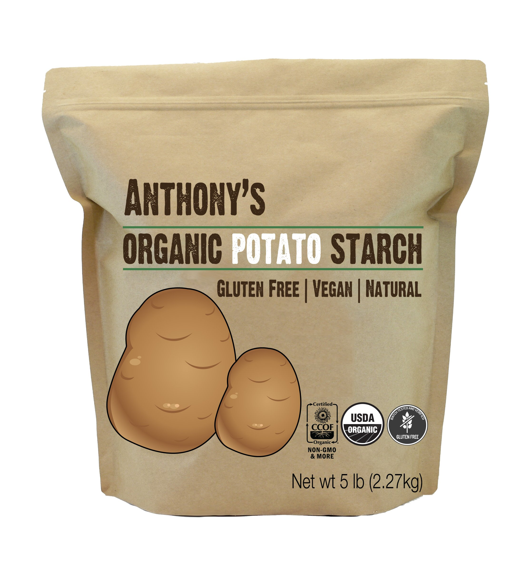 Anthony's Organic Potato Starch, Unmodified, 5 lb, Gluten Free & Non GMO, Resistant Starch